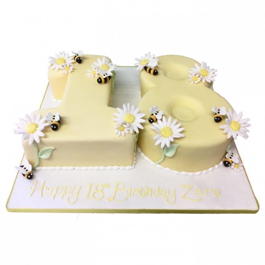 Bumblebee & Flower Number Cake (Feeds 60)