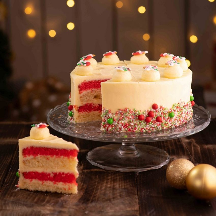 Candy Cane Cutting Cake (10 Large Slices)
