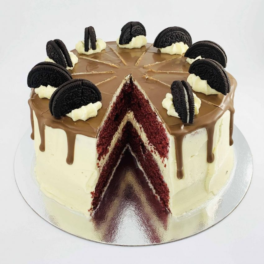 Chocolate Velvet Drip Cake (10 Large Slices)