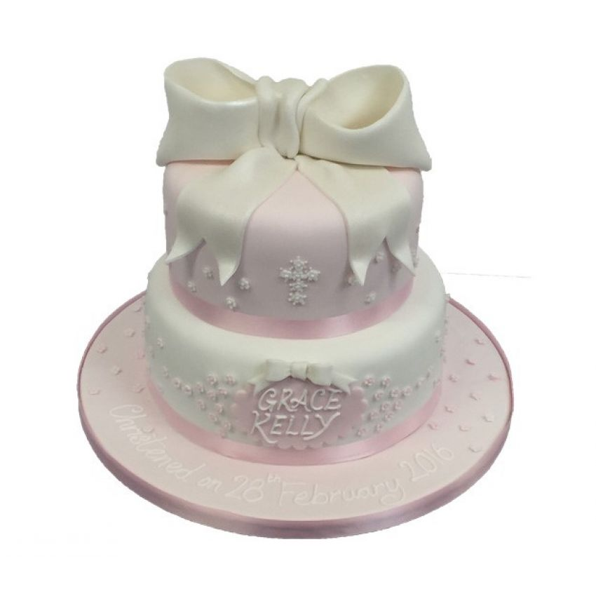 Two Tier Christening Bow (feeds 35)