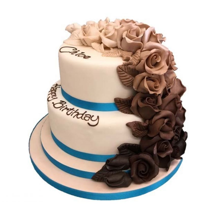 Ombre Tumbling Rose Tier Cake (feeds 35)