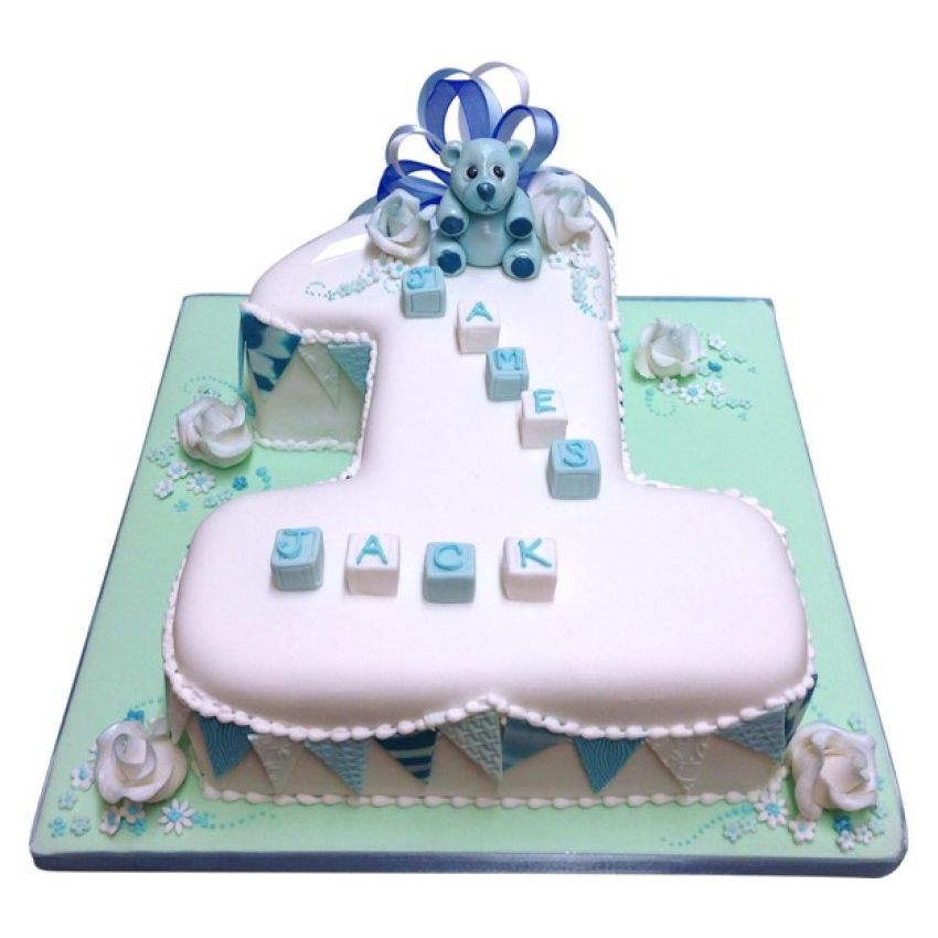 Teddy Bear & Bunting Number Cake in Blue (feeds 25)