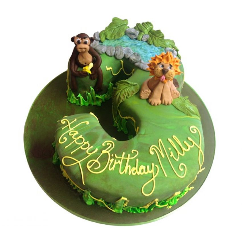 Jungle Animals Number Cake (feeds 25)